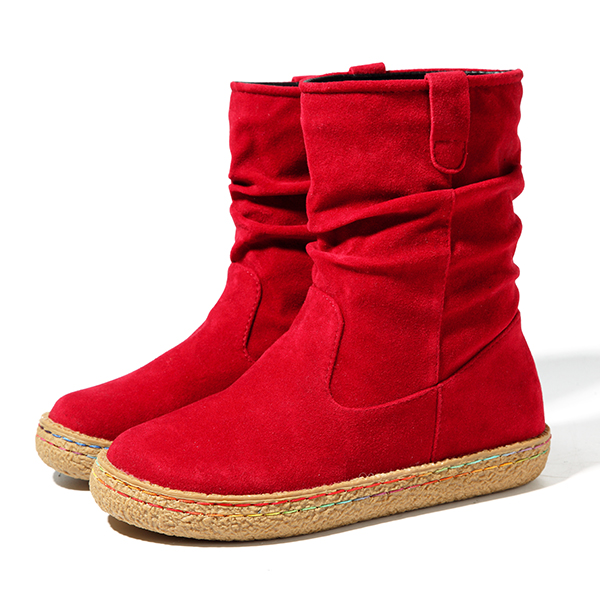 US Size 5-11 Women Slip On Casual Suede Mid-Calf Boots