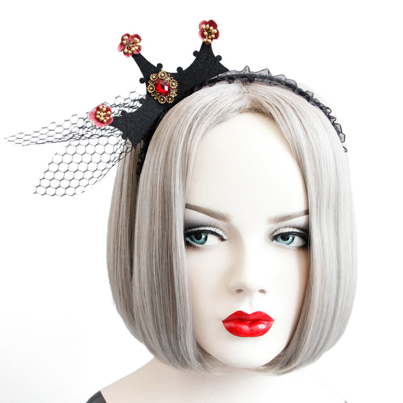 Halloween Party Crown Hairwear Toys Vintage Girl Tiara Fashion Lace Mesh Hair Bands