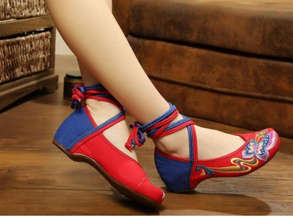 Butterfly Knot Embroidery Color Match National Wind Lace Up Strappy Flat Shoes