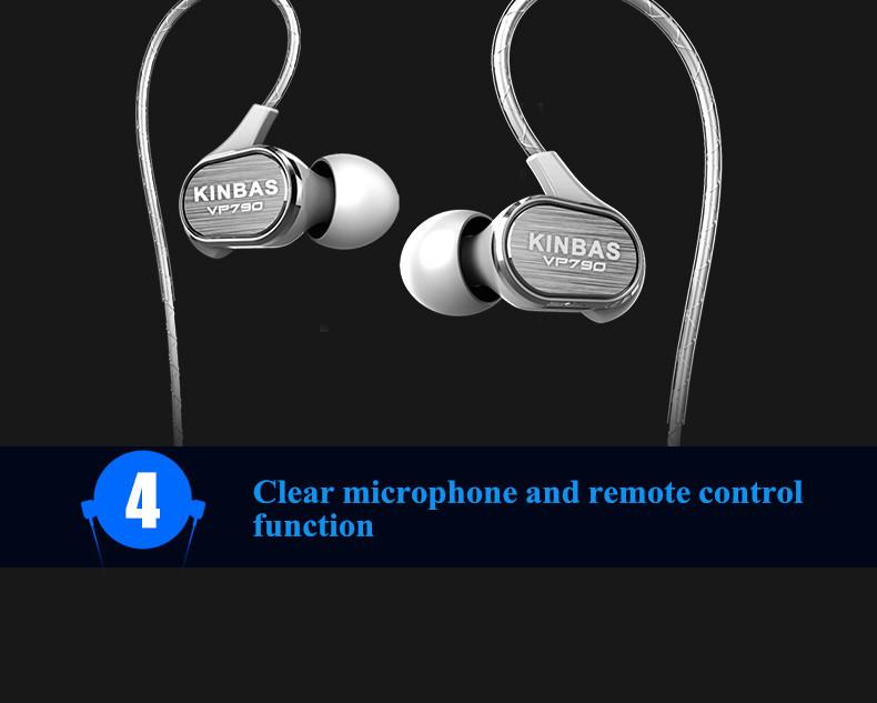 KINBAS VP790 In-ear Sport Ear Hook Remote Control Earphone Headphone With Mic