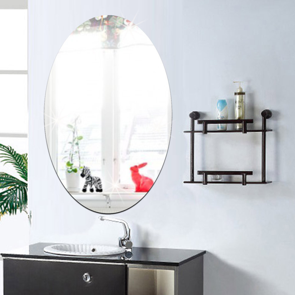 27x42cm Bathroom Self-adhesive Removeable Oval Mirror Wall Sticker Home Decor
