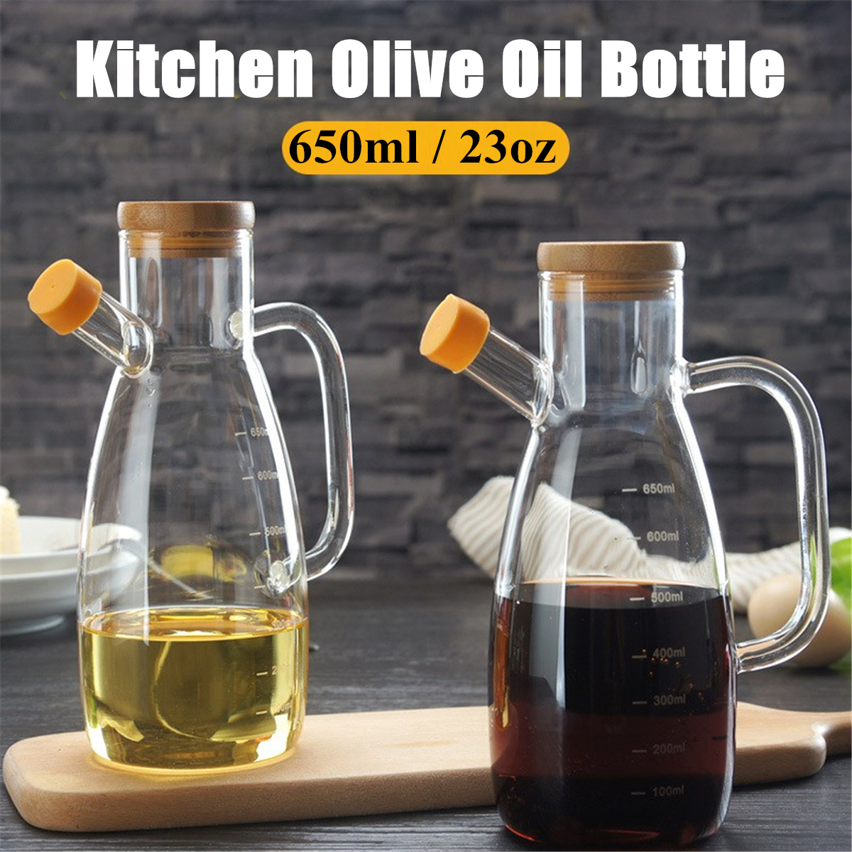 23 oz Olive Bottle Set Vinegar Dispenser Container Pourer Sprayer Kitchen Storage Container