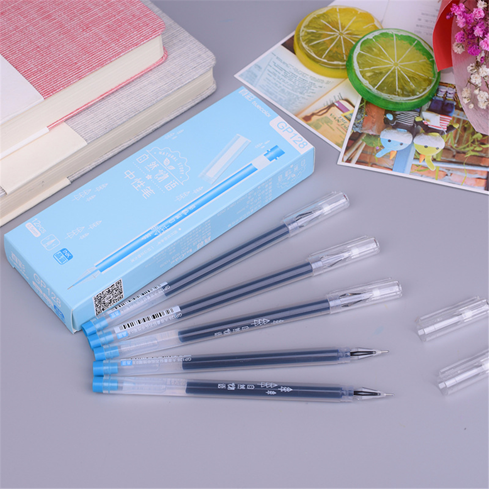 TrueColor GP128 12 Pcs/Set 0.5mm Black/Blue/Pink Ink Gel Pen School Office Students Stationery