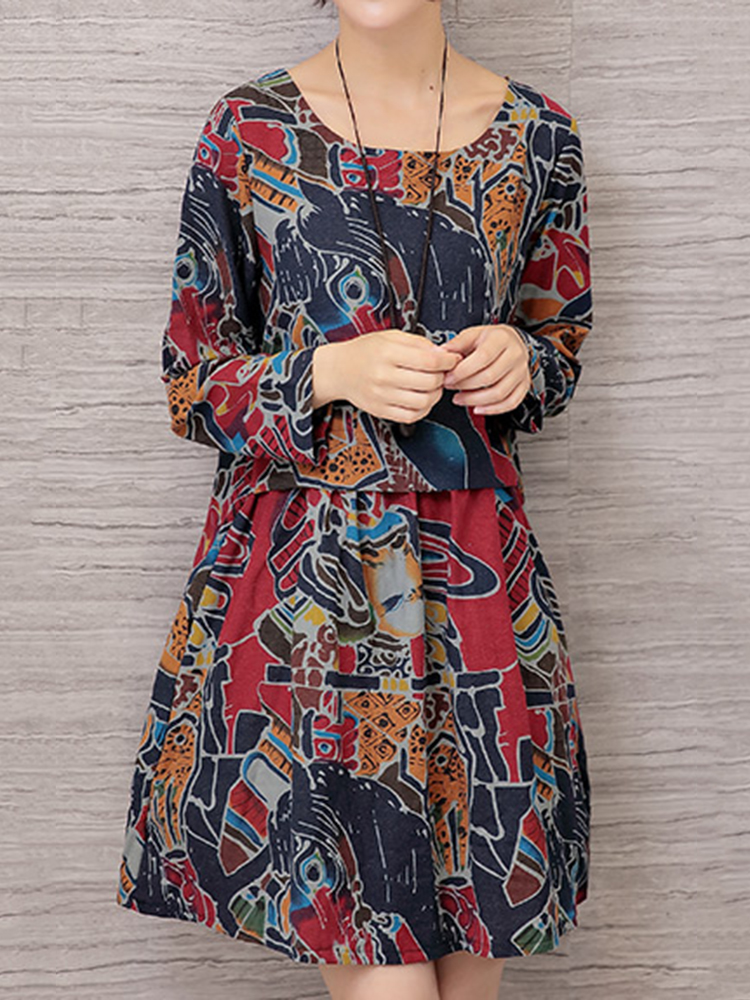 Vintage Women Floral Printed Long Sleeve Loose Dresses