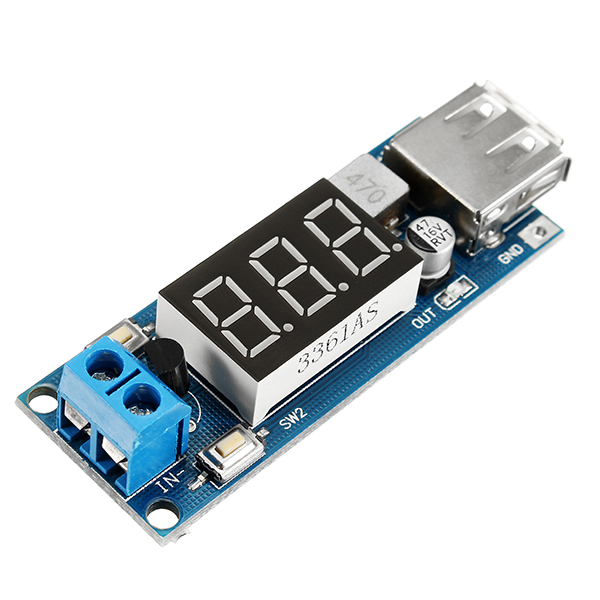 DC-DC 2 In 1 6.5V-40V To 5V Buck Step Down Power Module Voltmeter Automatic Calibration Stable Output 5V 2A With USB Charging Port Reverse Connection Over-Current Over-Temperature Protection Function