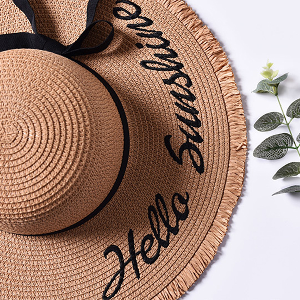 Women Wide Brim Embroidery Letter Sunscreen Beach Hat