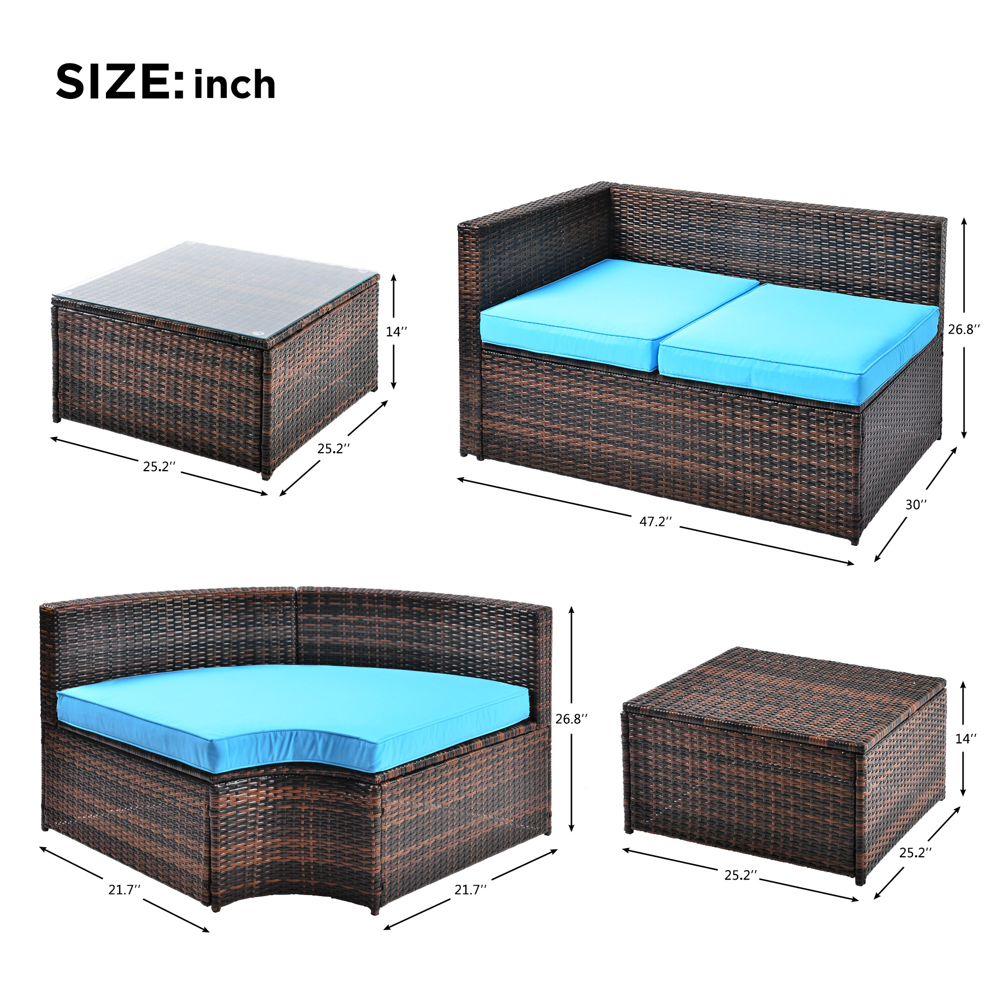 TOPMAX 5Pcs Patio Furniture Set Outdoor Sectional Conversation Set with Soft Cushions Fabric Sofa