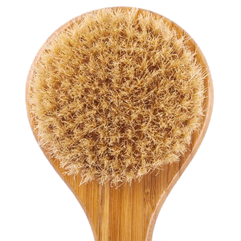 Honana Natural Bristle Cleaning Brushes Long Anti-slip Handle Wooden Spa Shower Body Brush Massage Bath Brush Health Care Bath Brush for Bath Body Scrub