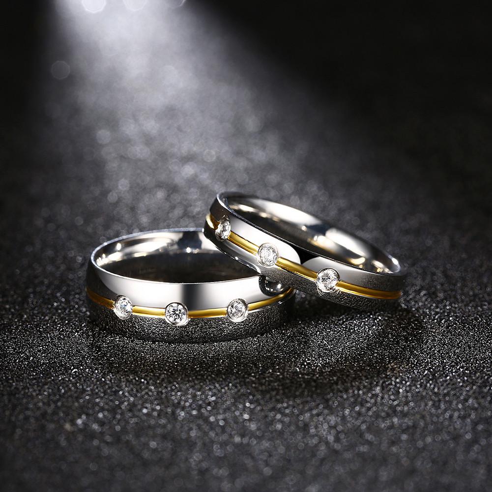 Three Zircons Silver Stainless Steel Ring Women Men Couple Forever Love Gift