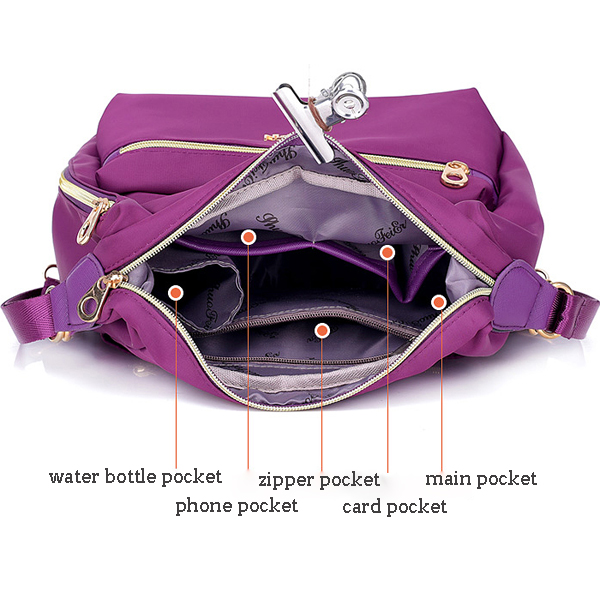 Women Nylon Waterproof Double-sided Crossbody Bag Multifunctional Shoulder Bag Backpack