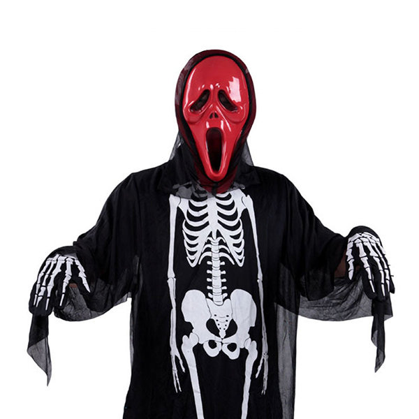 Mens Skeleton Ghost Costumes Black Halloween Cosplay Masquerade Clothing