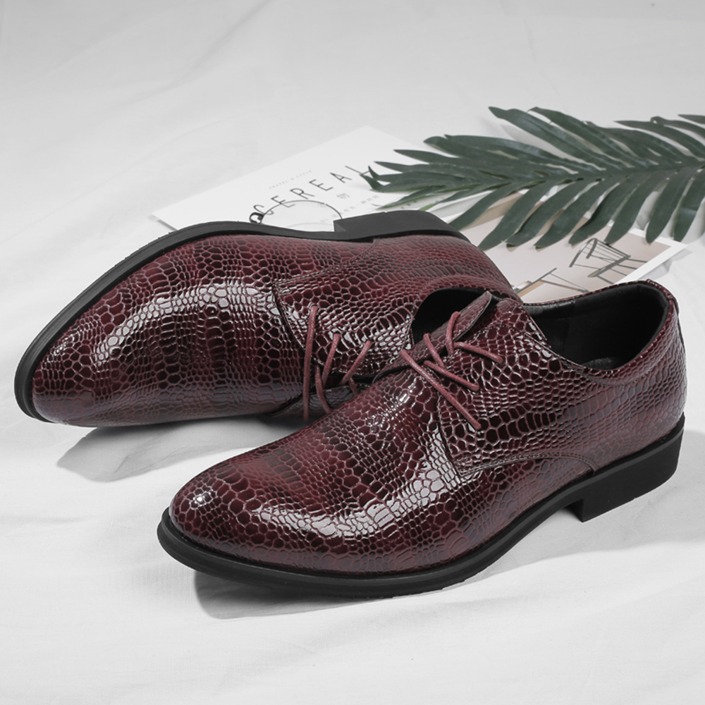 Crocodile Pattern Business Casual Dress Shoes
