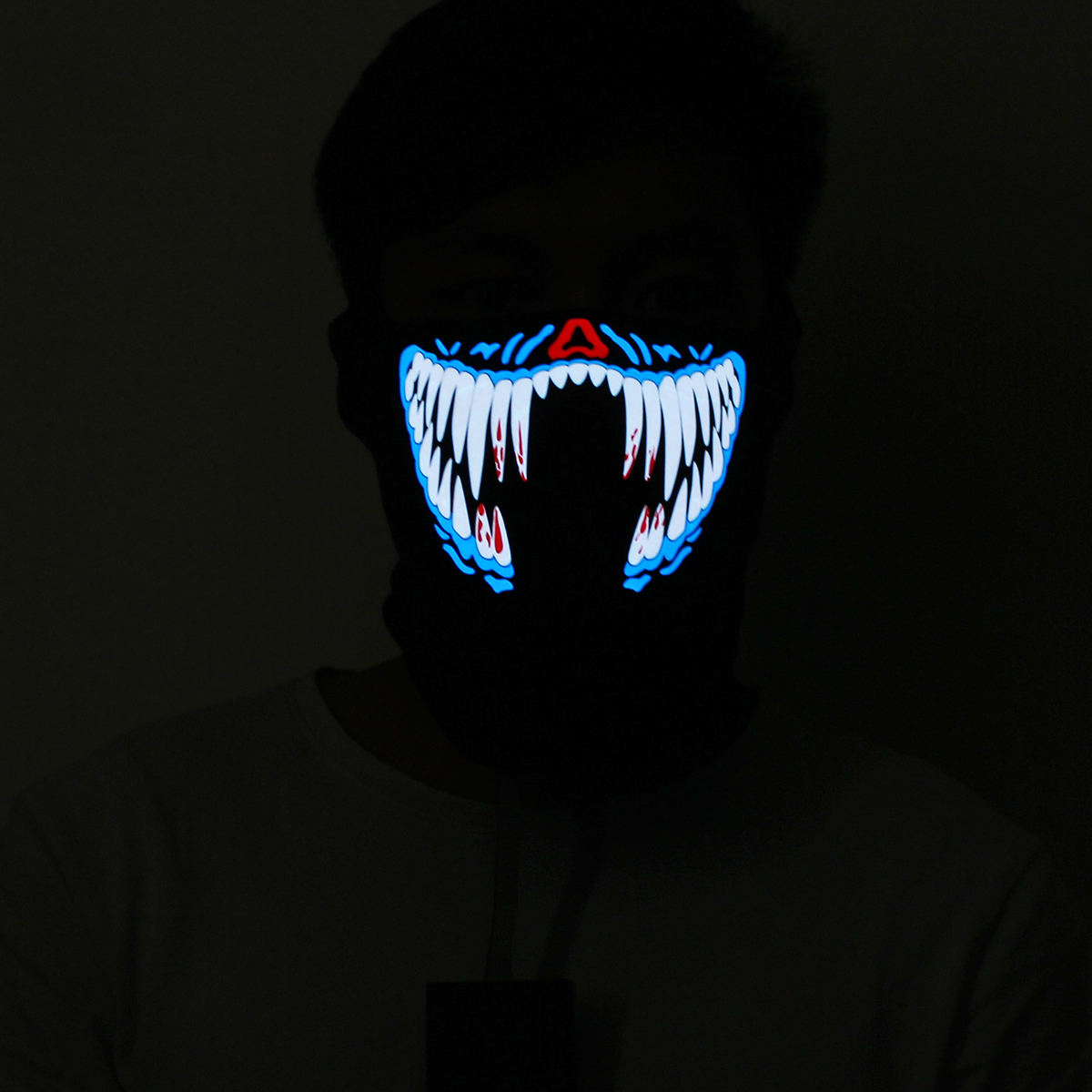 LED Rave Party Face Mask Equalizer Flashing by Music Luminous Cosplay Dance