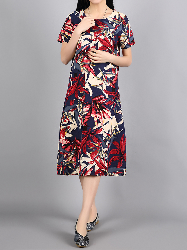 Ethnic Women Red Short Sleeve O-Neck Floral Printed Dresses