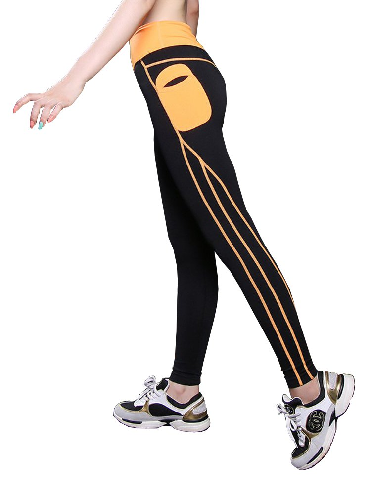 Women Patchwork High Waist Elastic Yoga Running Leggings