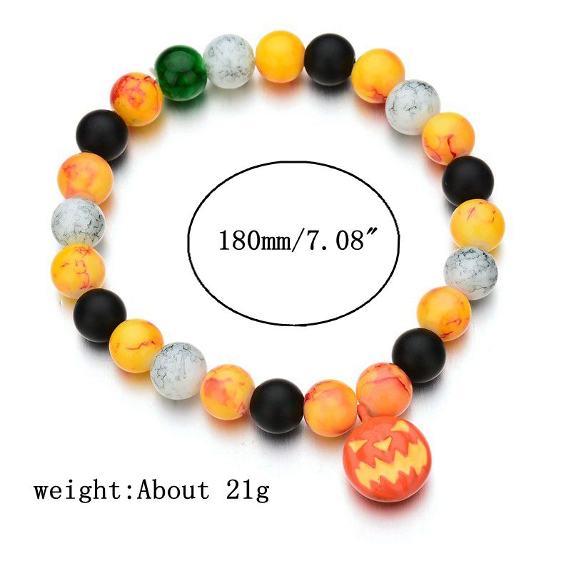 Halloween Pumpkin Skull Head Bracelet Elastic Beaded Chain Party Funny Bracelet