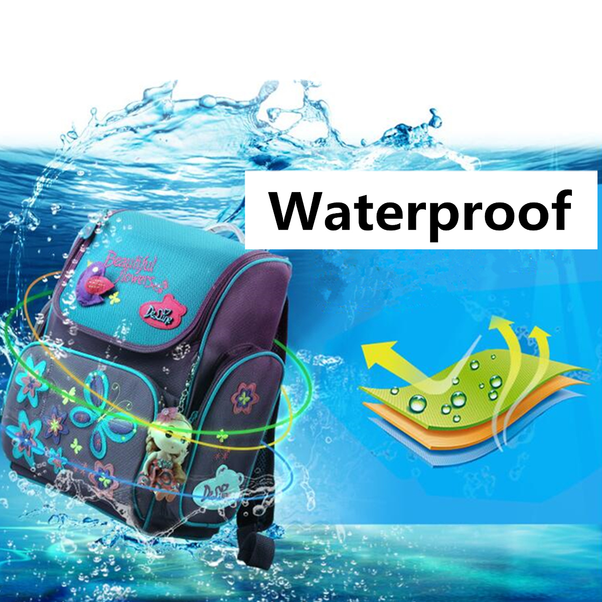 18L Girls Kids Cartoon School Bag Reflective Safety Waterproof Children Backpack With Doll Pendant