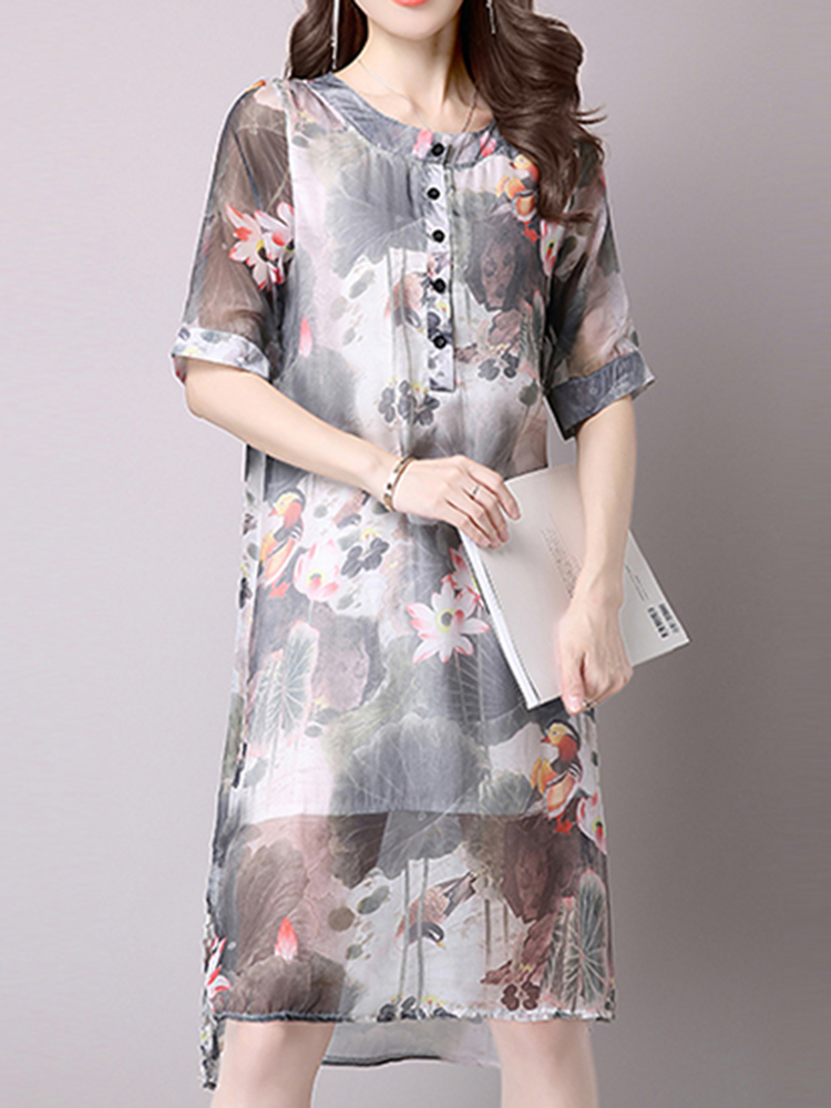 Vintage Women Fake Two Piece Floral Printed Chiffon Dresses