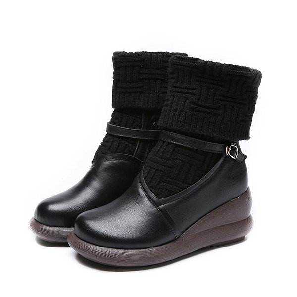 SOCOFY Retro Zipper Leather Boots