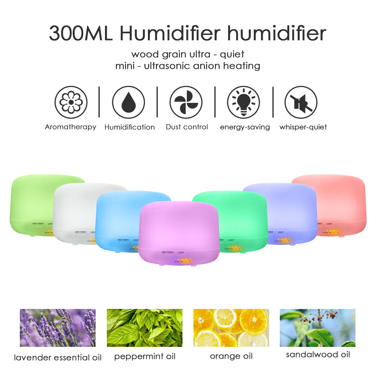 ELEGIANT 300ML Air Humidifier Purifier Ultrasonic Essential Oil Diffuser Cool Mist 7 Color LED Light