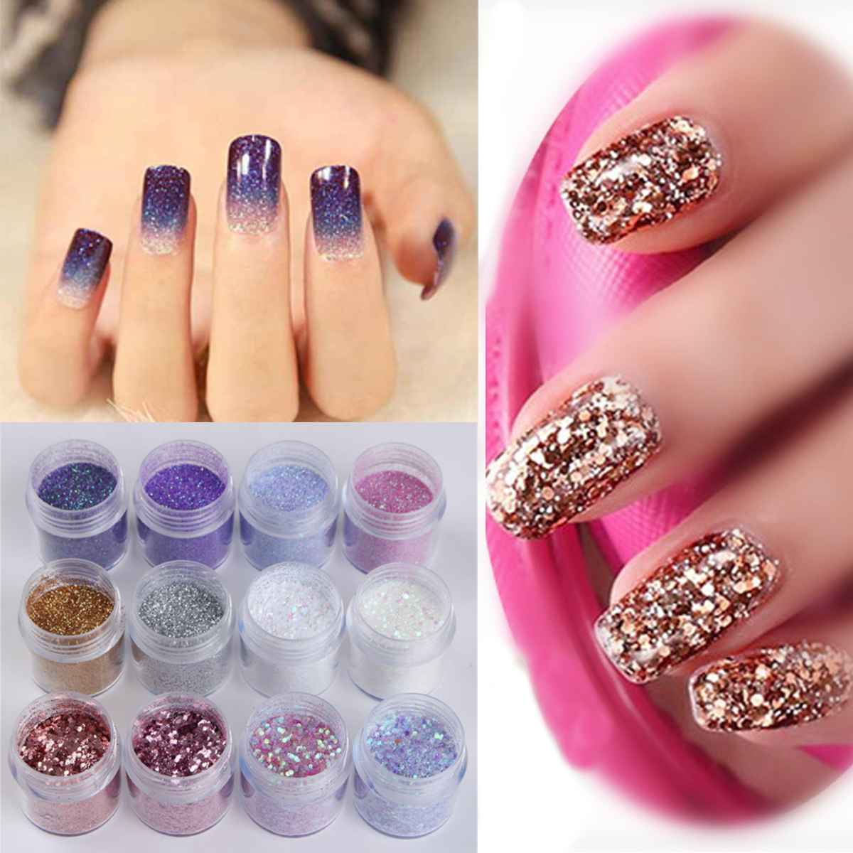 Nails Art Powder Glitter Mixed Sequins Decoration DIY Decoration 12 Boxes/Set