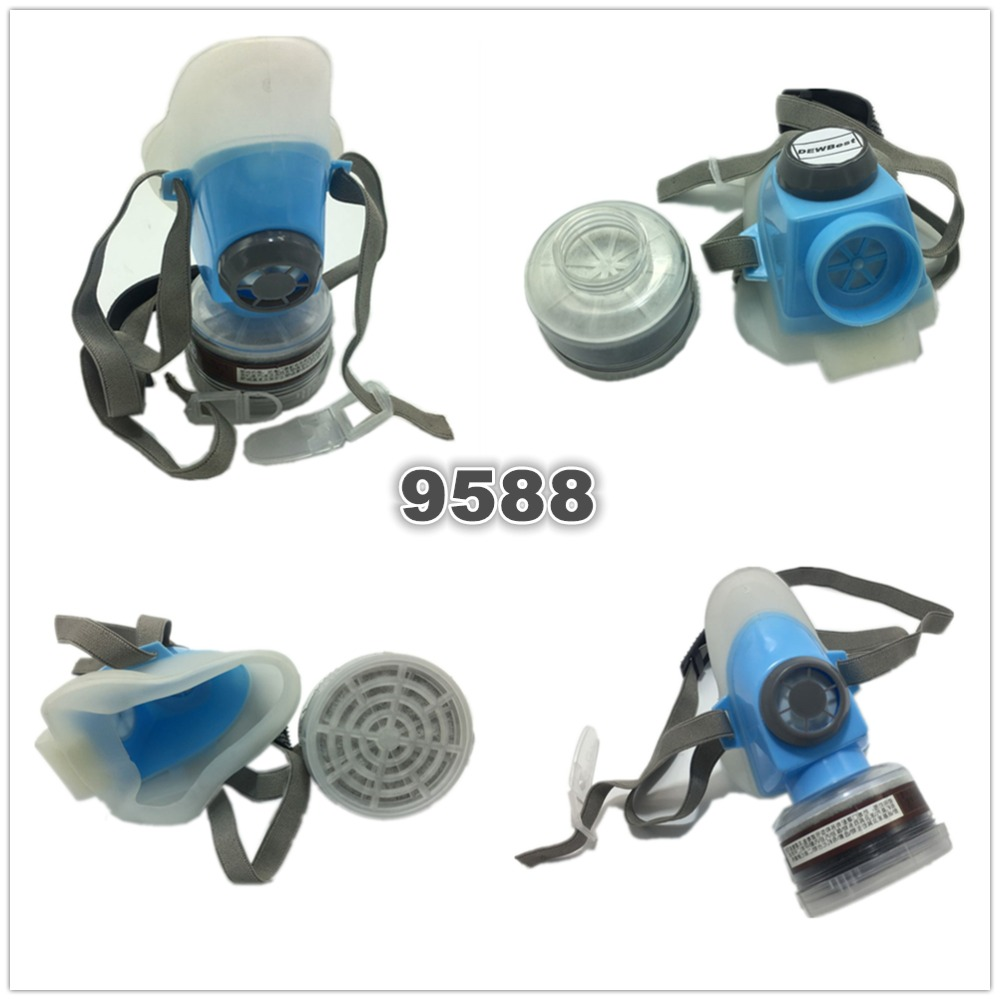 DEWBest 9588 Blue Gas Mask Emergency Survival Safety Respiratory Gas Mask Anti Dust Paint Respirator Mask with 2 Dual Protection Filter