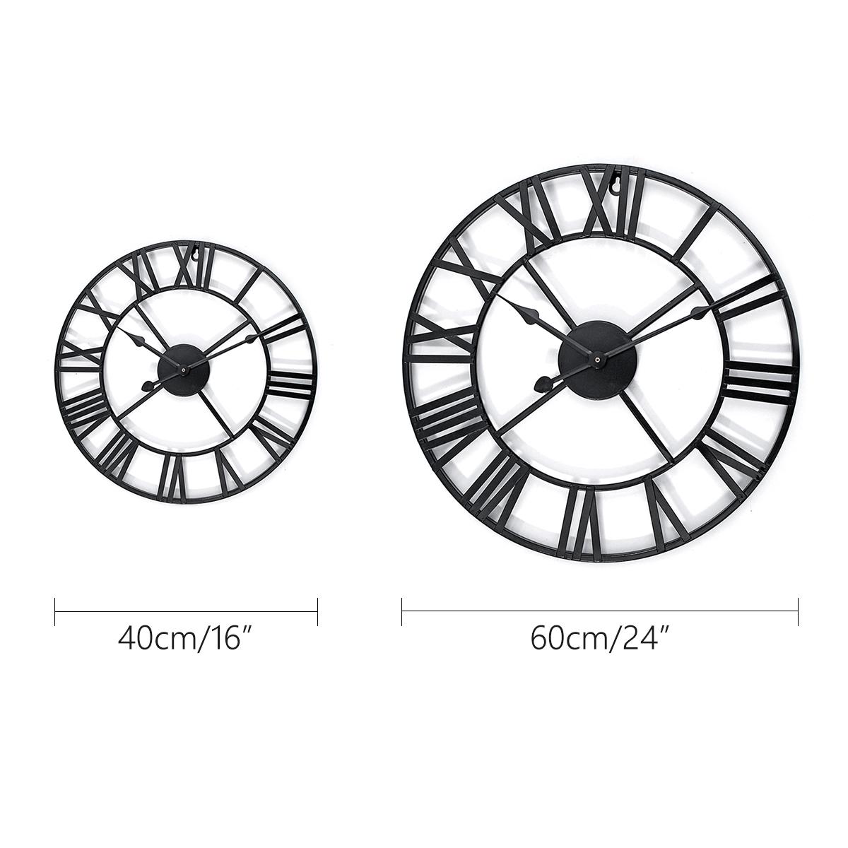 40/60cm Large Metal Skeleton Roman Numeral Wall Clock Black Round Shape