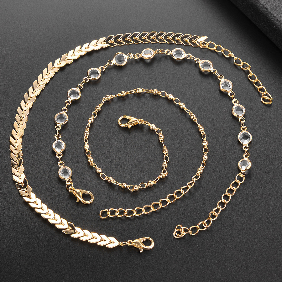 3 Pieces/ Set Gold Alloy Rhinestone Anklet