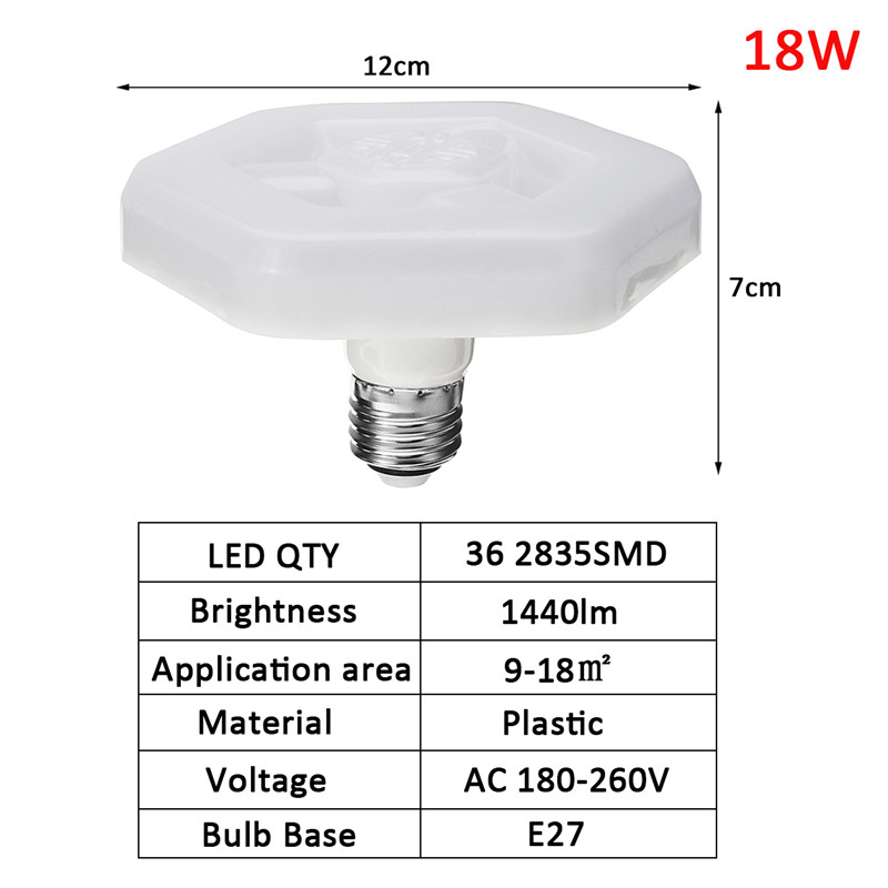 E27 18W 36 SMD 2835 LED Bulb UFO Spot Light Bulb Energy Saving High Brightness Lamp AC180-260V
