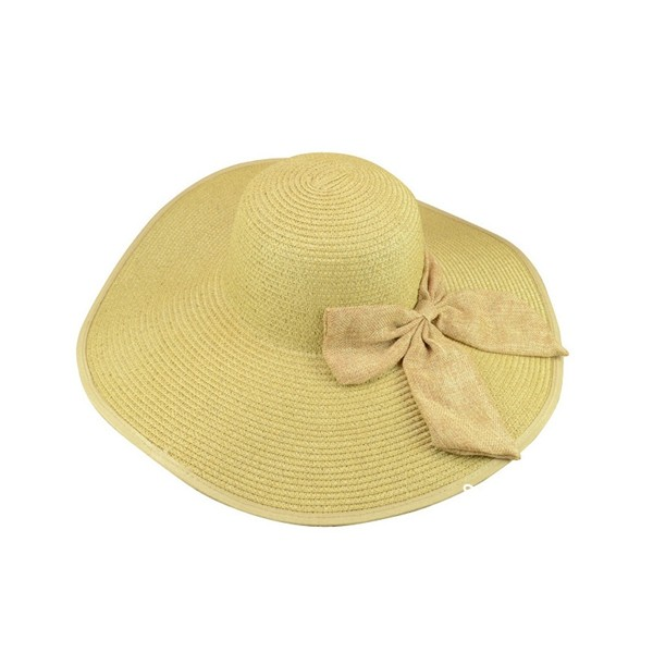 Girl Women Boheimia Floppy Straw Hat Sun Summer Beach Cap Bow Foldable Wide Brim