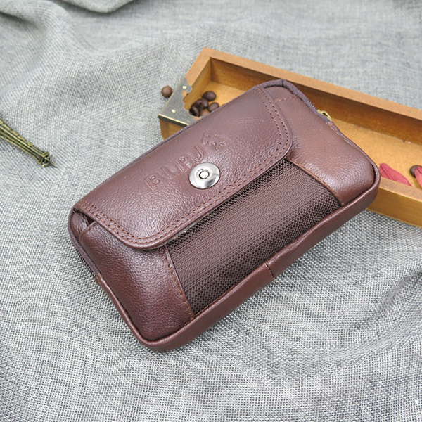 Men Brown Leather Belt Phone Pouch Hoslter Waist Bag Case for 5.8 Inch Cell Phone
