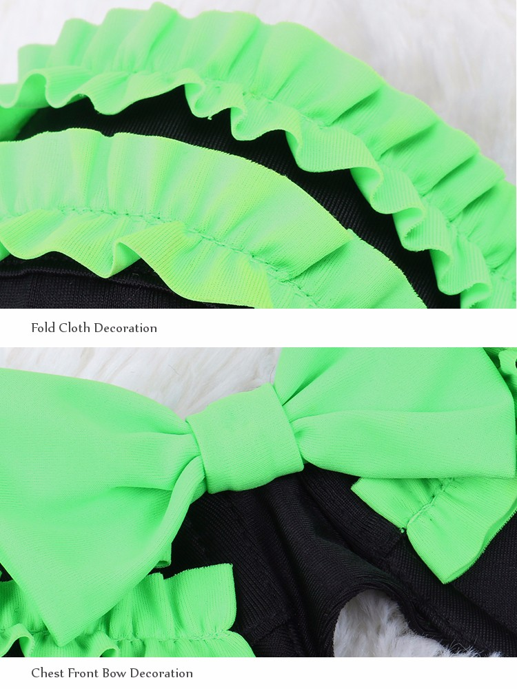 Retro Style Green Ruffles and Bows Black High Waist Swimwear