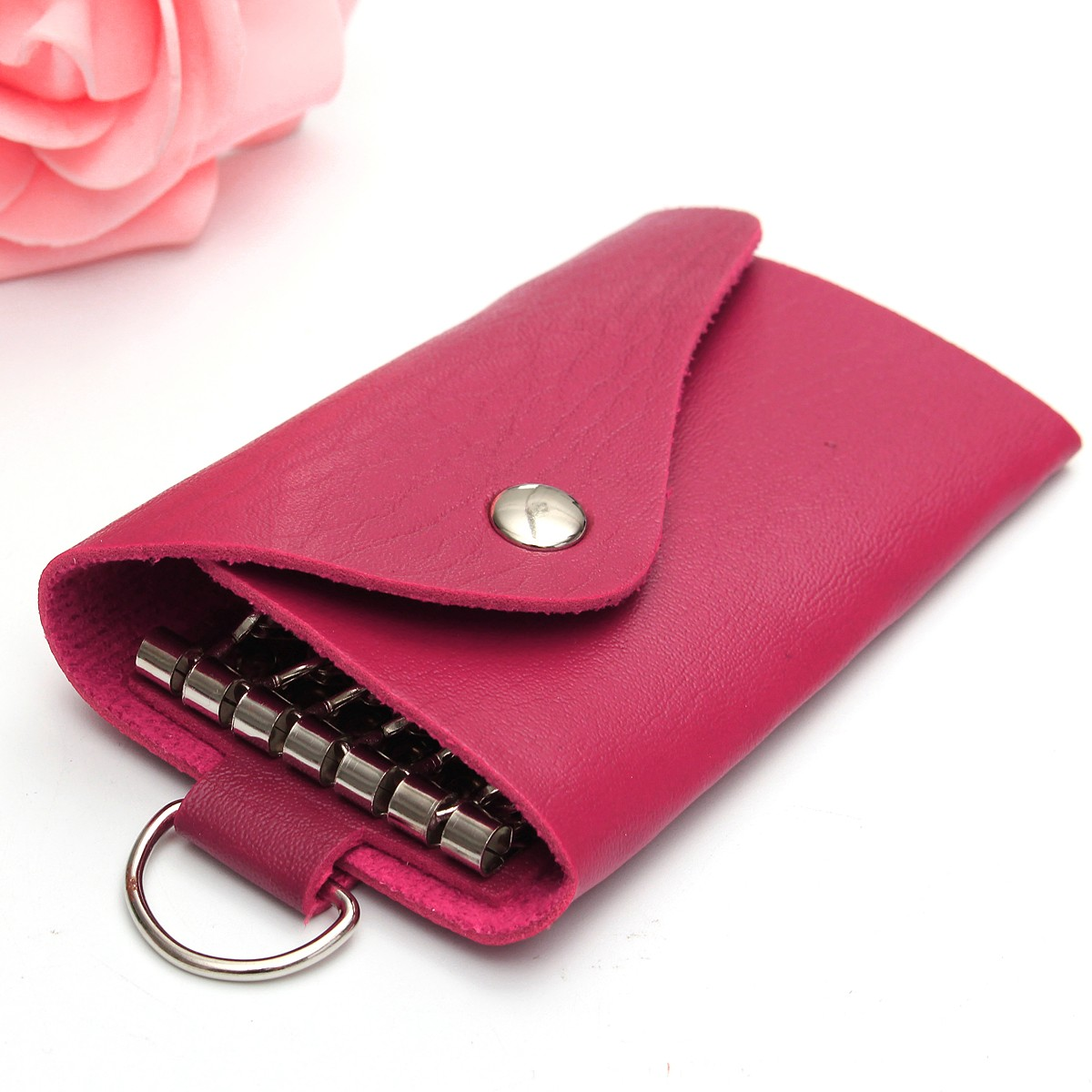 Men Women Leather Car Key Case Auto-key Holder Key Chains Key Hooks Case Wallet Purse