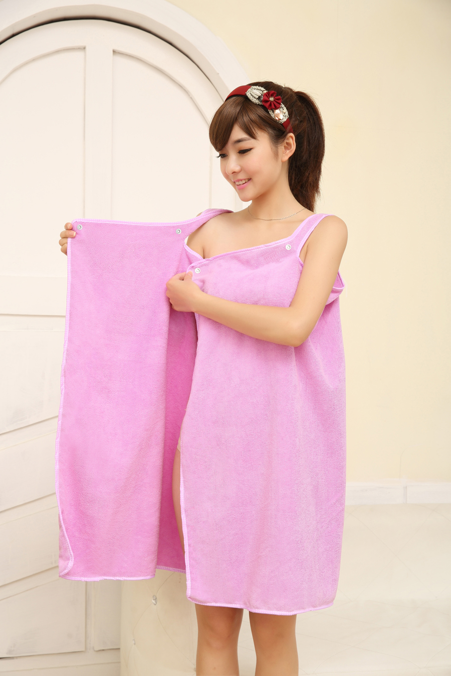 Honana BX-699 Women Microfiber Soft Cozy Beach Bath Towel Able Wear Sexy Hot Spas Bathrobe Skirt