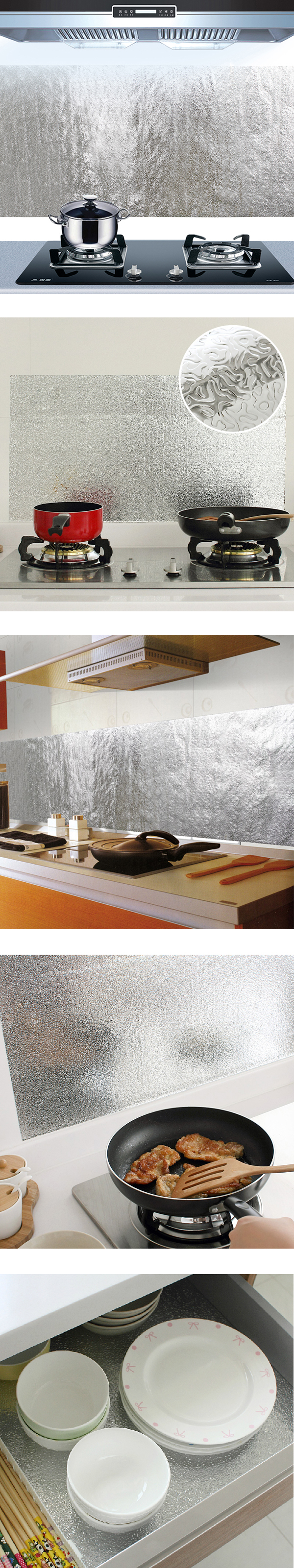 Kitchen Aluminum Film Oil Sticker Self Adhesive Anti Oil Kitchen Cabinet Adhesive Wallpaper