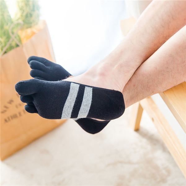 Men Cotton Mesh Breathable Toes Socks Ankle Socks