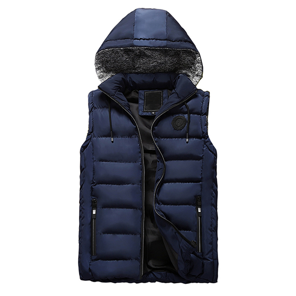 Mens Winter Thick Warm Cotton Padded Stitching Hooded Solid Color Vest