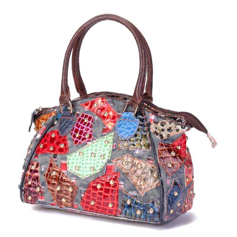 Women Genuine Leather Stitching Patchwork Vintage Handbag