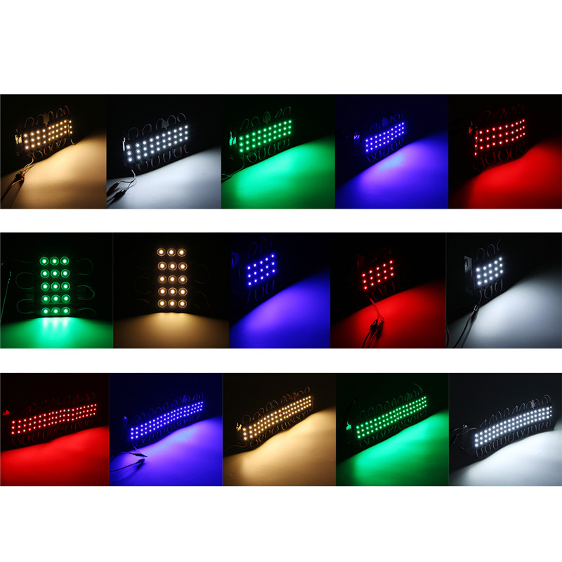 5PCS SMD5050 Waterproof RGB 3LEDs AD Module Colorful Decorative Strip Light DC12V
