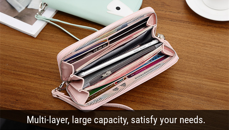 Universal Zipper Cartootn Whale Long Purse Phone Wallet Bag for Phone Under 5.2 inches