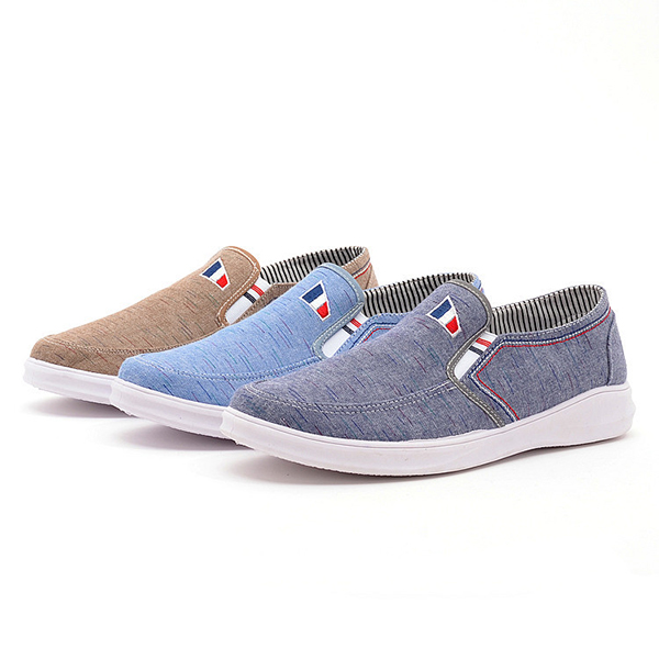 Men Breathable Cloth Slip On Casual Flats Sneakers