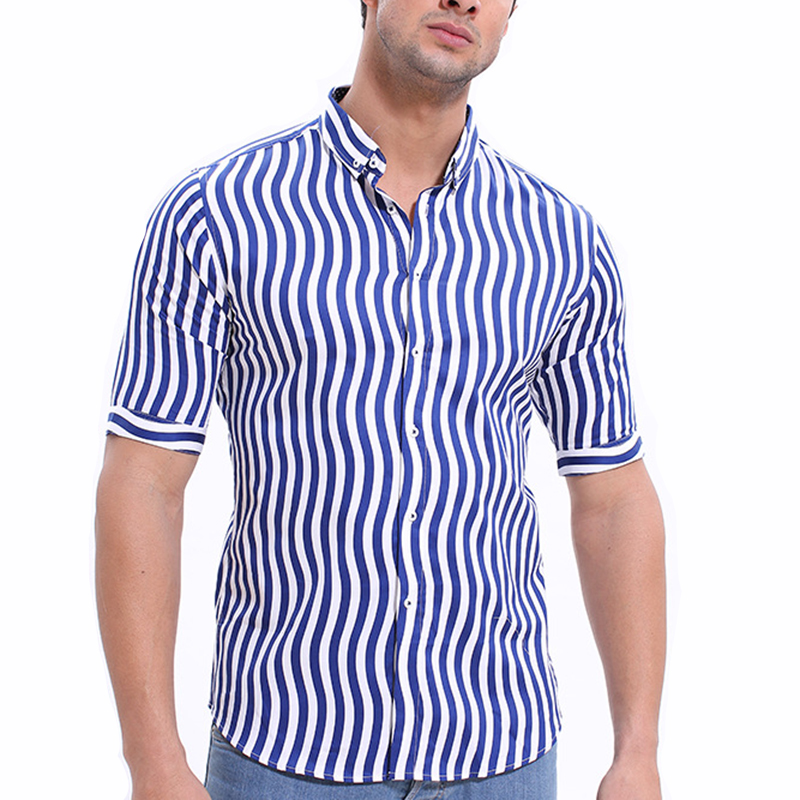 Mens Summer Fashion Vertical Striped Printing Designer Shirt
