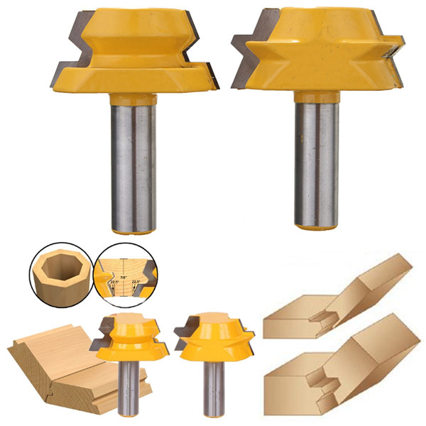 2pcs 1/2 Inch Shank 22.5 Degree Lock Miter Router Bits Set Lock Miter Woodworking Cutters
