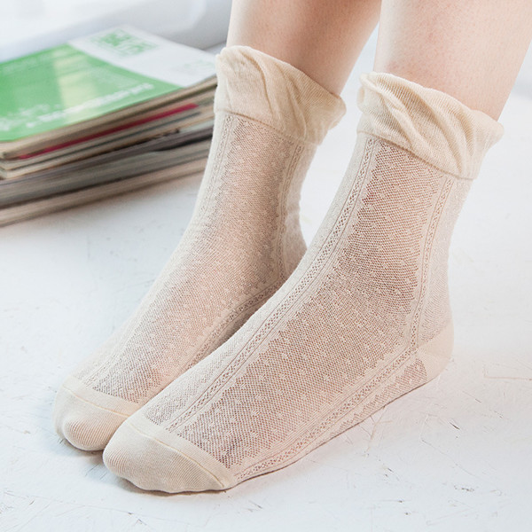 Women Cotton Ultra Thin Silk Elastic Mesh Socks Summer Solid Color Breathable Ankle Socks