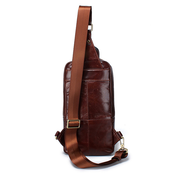 Genuine Leather Large Capacity Crossbody Bag Chest Bag