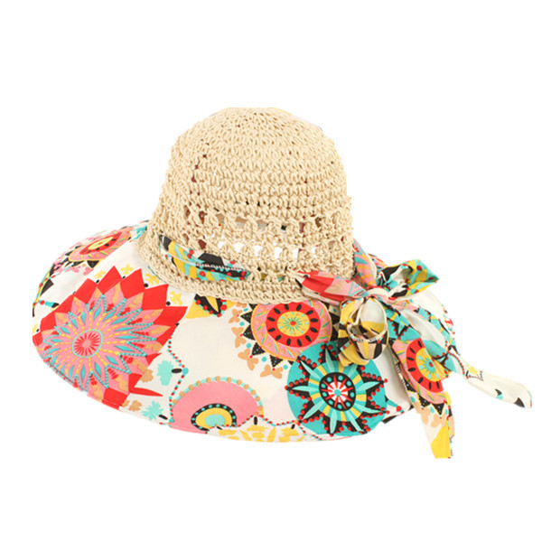 Women Foldable Hollow Beach Sun Straw Hat Large Wide Brim Flower Print Sunscreen Sun Hat