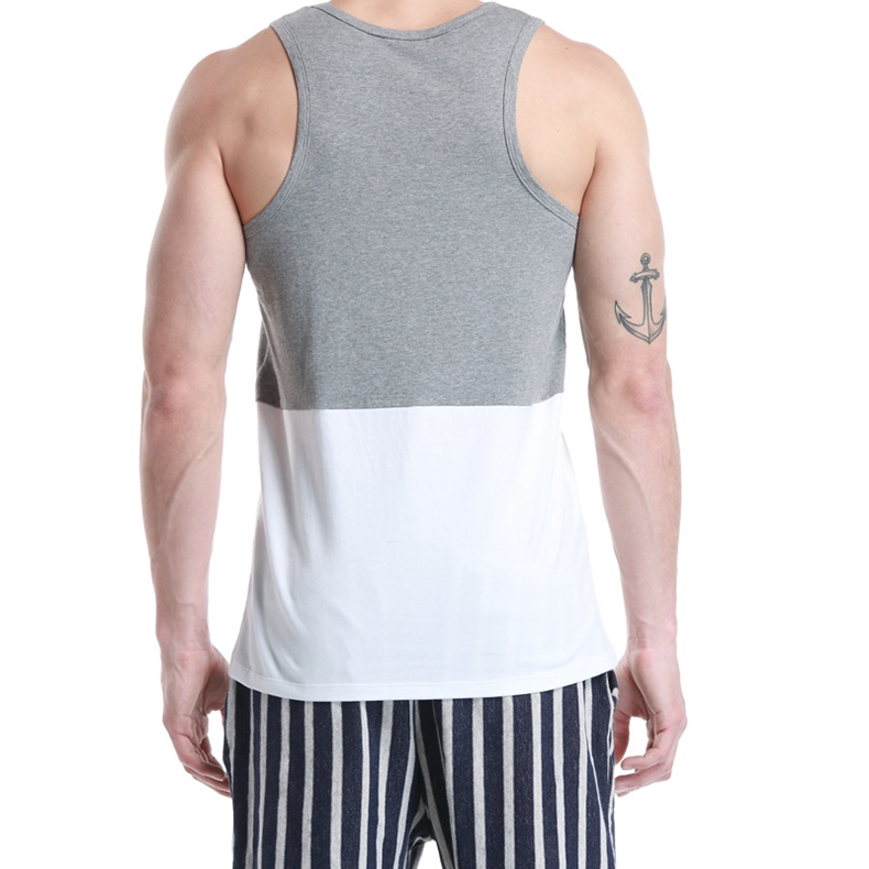 SEOBEAN New York Paris Printed Men's Vest Cotton Summer Leisure Fitness Jogging Sport Tops