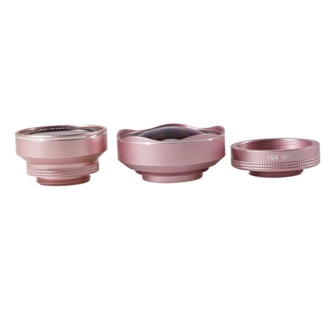 Bakeey LQ-048 3 in 1 0.6X Wide Anglelens 15X Macro Lens+Fisheye Camera lens for Smartphones