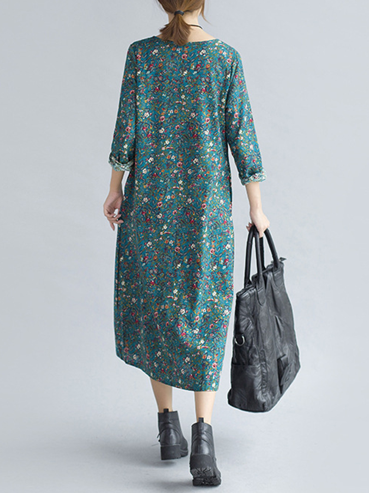 Loose Women Plate Buckle Print O-neck Long Sleeve Mid Long Dresses