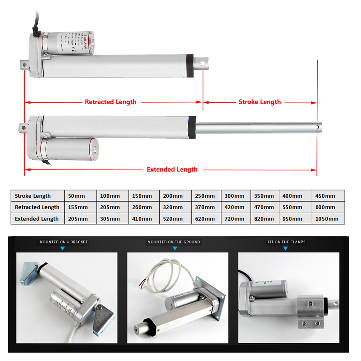 Adjustable 900N 12V 25mm Linear Actuator Motor Electric Industry Heavy Duty Lifting